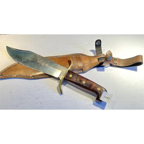 9.5 INCH WESTERN KNIFE, USA W/ BONE HANDLE & LEATHER SHEATH