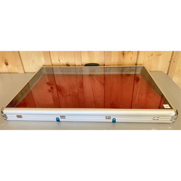 LOCKING CHROME & GLASS DISPLAY CASE - 3 X 22 X 34 INCHES