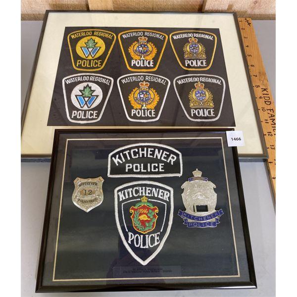 LOT OF 2 - KITCHENER / WATERLOO POLICE BADGE DISPLAYS