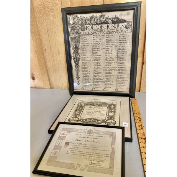 LOT OF 3 - WWI BRITISH CONSTABULARY FRAMED CERTIFICATES
