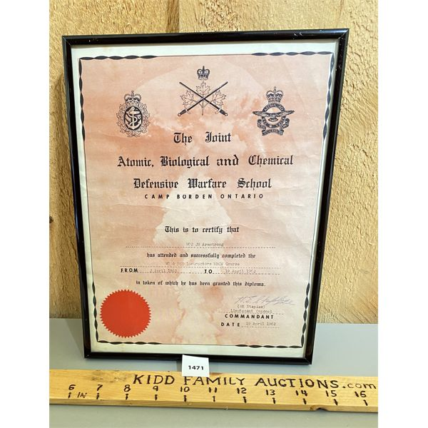 1962 - CAMP BORDEN - CHEMICAL DEFENSE SCHOOL CERTIFICATE - FRAMED 9 X 11 INCHES