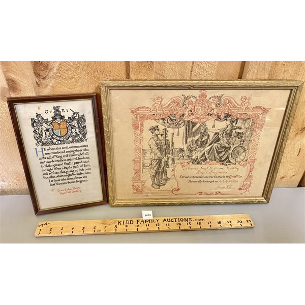 LOT OF 2 - FRAMED MILITARY CERTIFICATES - ROYAL FIELD ARTILARY & ENGINEERS