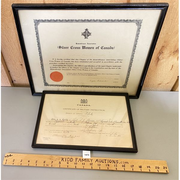 LOT OF 2 - CND MILITARY CERTIFIACTES - WOMEN'S SILVER CROSS & 1911 INFANTRY OFFICER