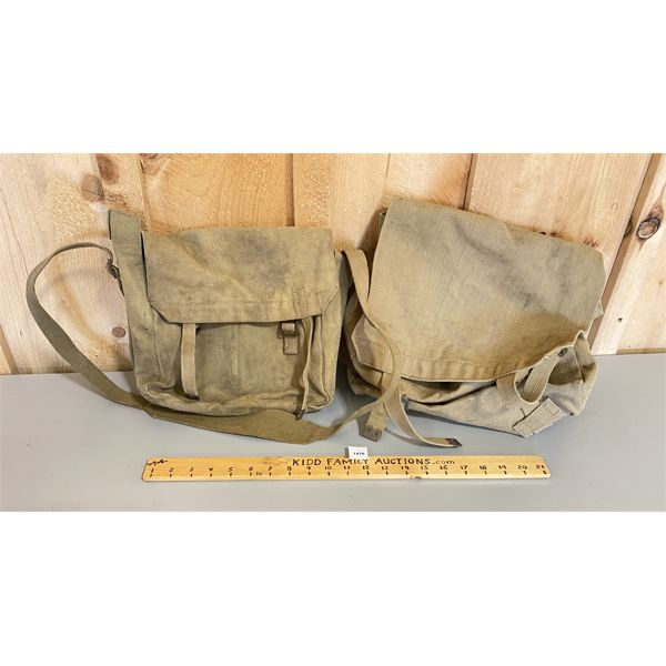 LOT OF 2 - WWII CANVAS KIT BAGS - 1 X BROAD ARROW MARKING