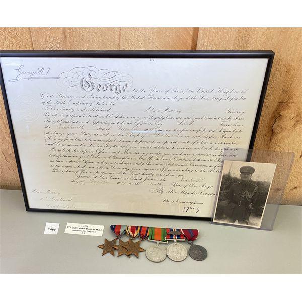 1919 MEMORABLIA - COL ADAIR MURRAY MBE - 6 MEDAL BAR, PHOTO, SERVICE CERTIFICATE