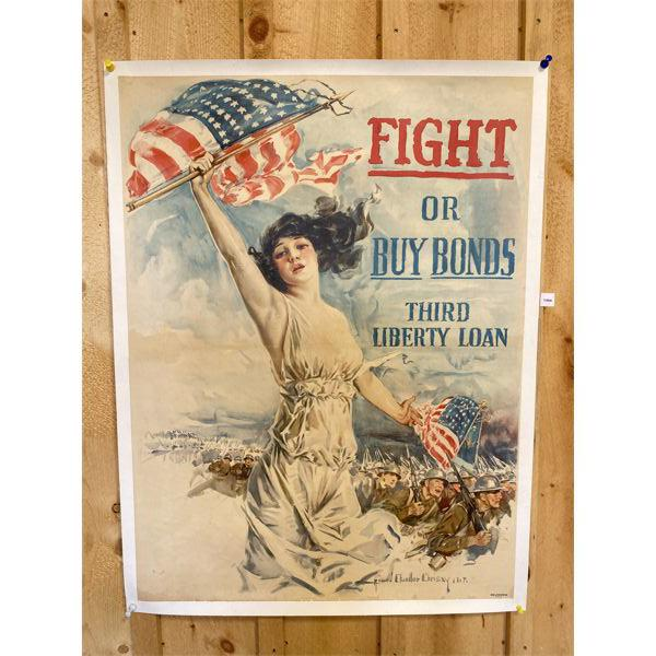 US LIBERTY BONDS POSTER MOUNTED ON CANVAS BACKING - 32 X 42 INCHES