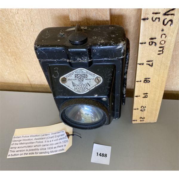 BRITISH POLICE WOOTTON LANTERN W/ MORSE CODE CAPABILITY - CIRCA 1939