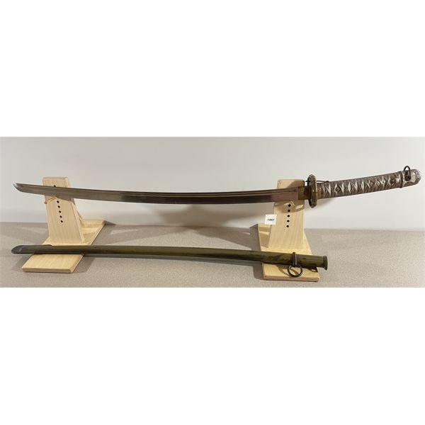 1933 JAPANESE NCO SHIN-GUNTO SWORD W/ SCABBARD - 27.5 INCH BLADE
