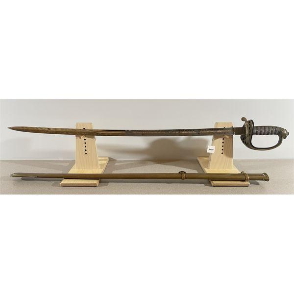 1854  INFANTRY OFFICER'S SWORD W/ BRASS SCABBARD - 32 INCH BLADE