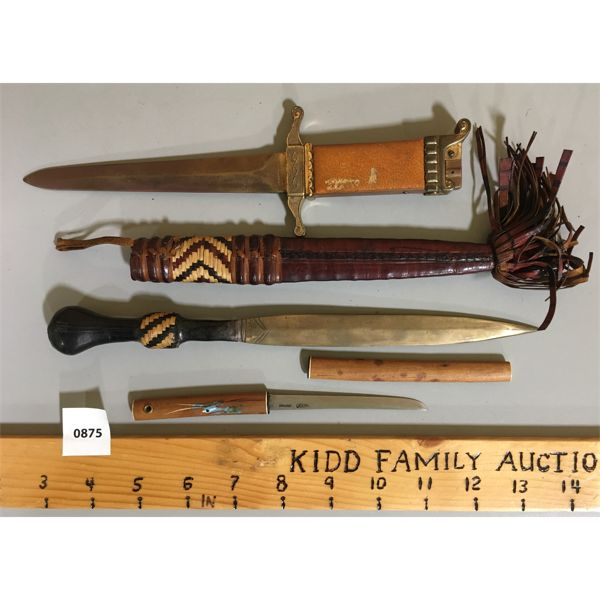 LOT OF 3 - DAGGERS / LETTER OPENERS 3 INCH AND 6 INCH BLADE LENGTHS