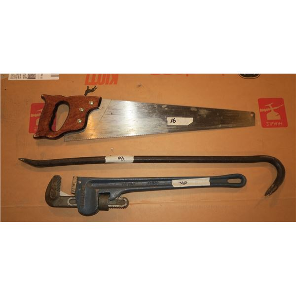 Pipe wrench, goose neck & saw