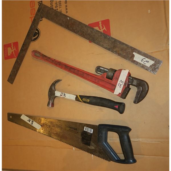 Hammer, Saw, Pipe Wrench, Square