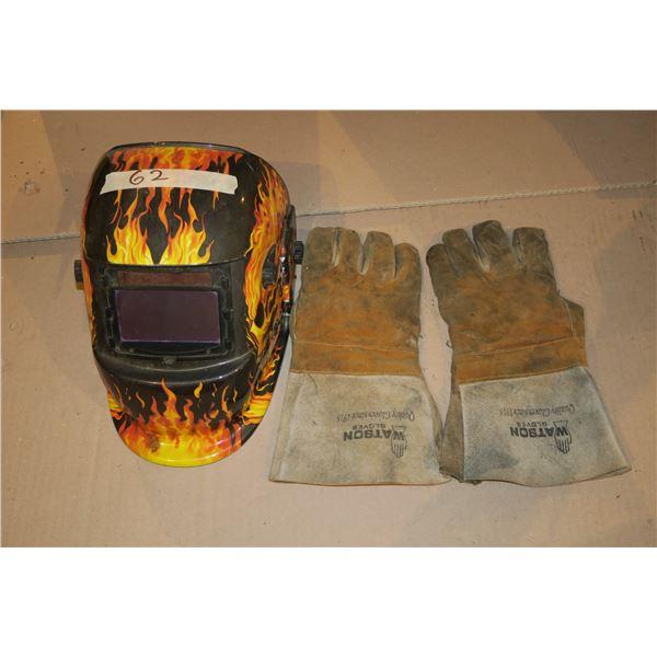 Auto Darkening Welding Helmet & Leather Gloves