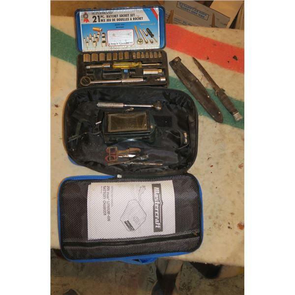 Lot misc. tools including vintage knife & Socket set