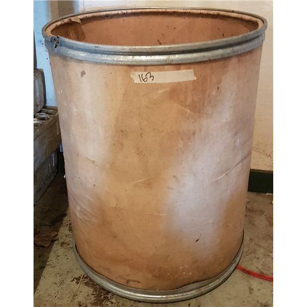 "Cardboard Barrel 21"" Diameter, unknown capacity"