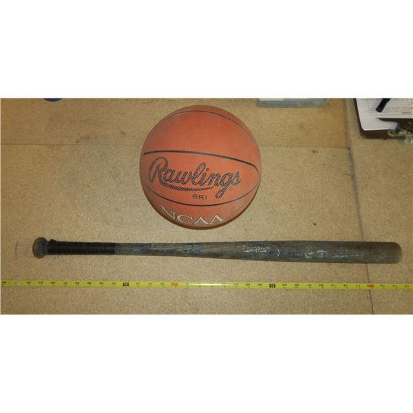 Vintage Kids Baseball Bat + Basket Ball