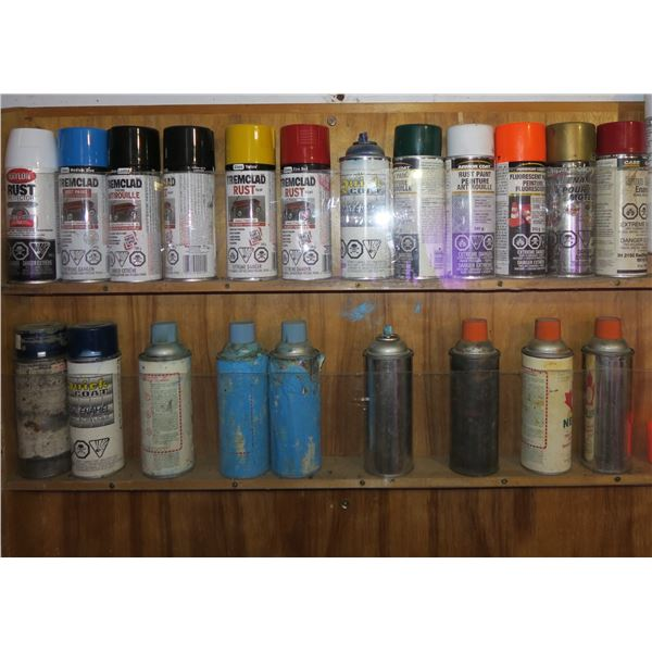 Lot misc. Partial Spray Paint Cans (Never Frozen) (Rack not included)