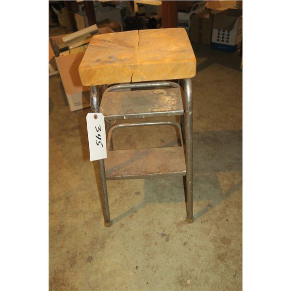 "26"" Vintage Metal Step Stool/Homemade Chair"