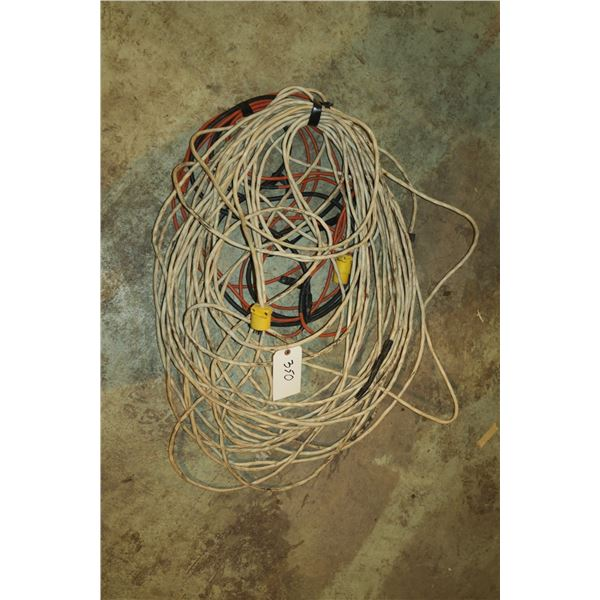Lot electrical Wire w/ Plug ends + Extension cords