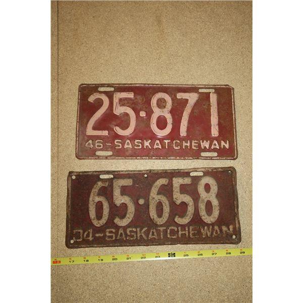 1934, '46 Sask License Plates