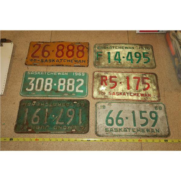 6 Various Years Sask Plates