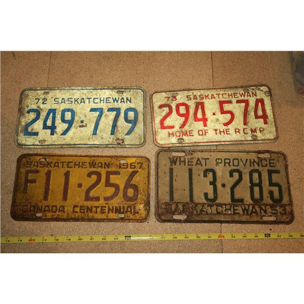4 Various Years Sask Plates