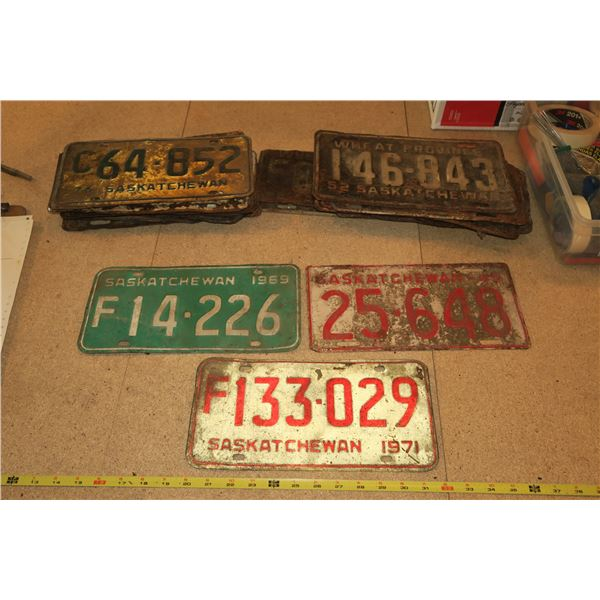 Lot Various Years Sask Plates (Most in poor condition)