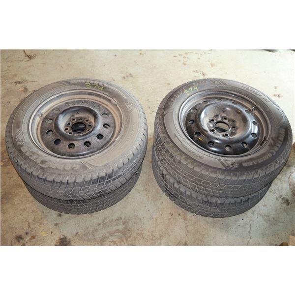 4 Goodyear 205/65/r16 & Rims(three Unilug, one 5 bolt) Fits '13 Hyundai Sonata