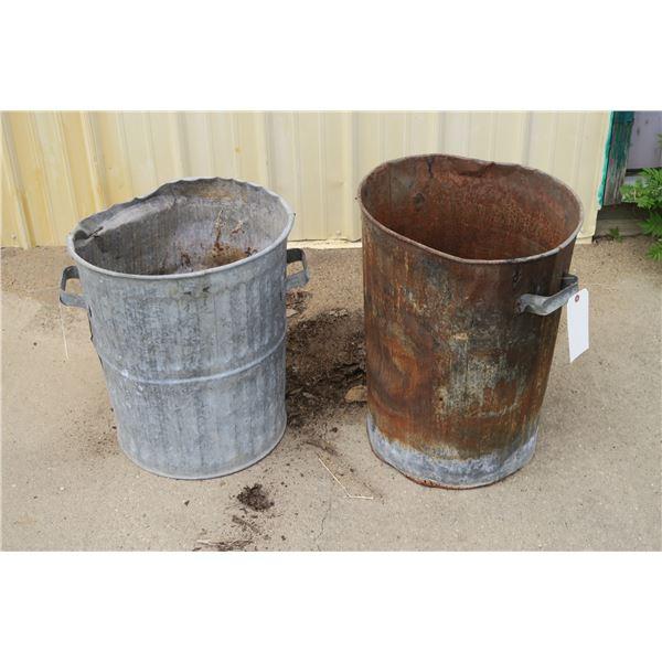 Two 25 gal. Metal Garbage cans