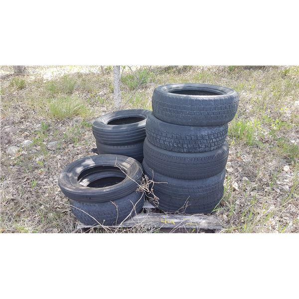 Pallet of various size scrap tires