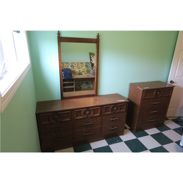 "2 Vintage Dressers + Mirror 60""×16""×30"" & 32""×16""×38"""
