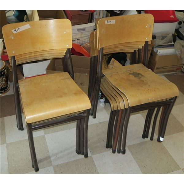 12 Wooden Stacking Chairs