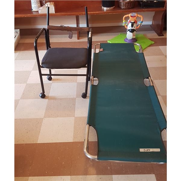 Folding Cot & Chair On Wheels (Damaged)