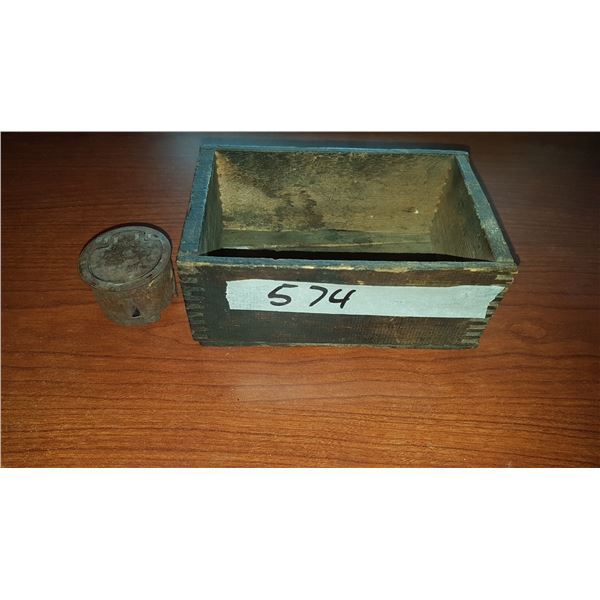 Wooden Box & Vintage Ink Well
