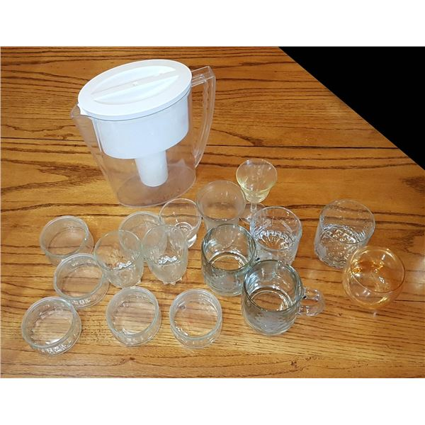 Lot Glassware & Water Filter Pitcher