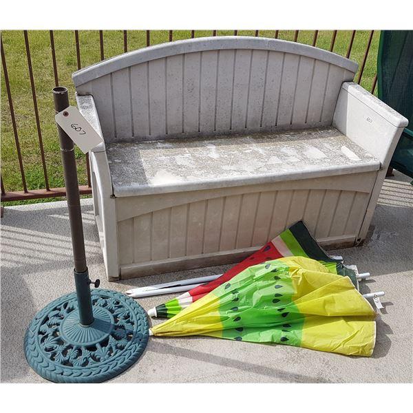 Patio Bench / Storage & Umbrella Base & Umbrella