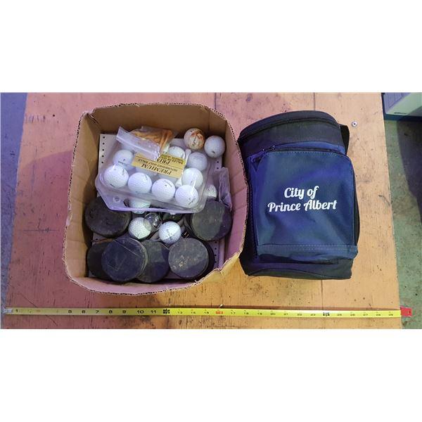 Cooler Bag & Golf Balls & Hockey Pucks