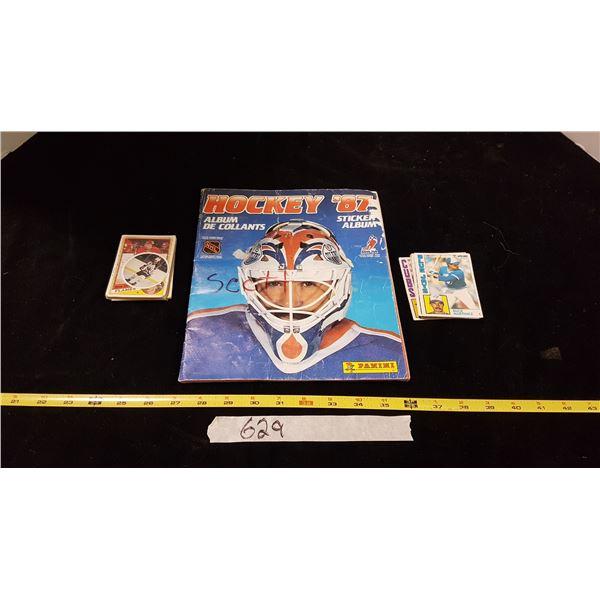 Lot Hockey Sticker Book & Sports Cards