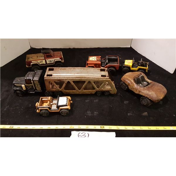 Tonka Car Hauler & & Various Toy Vehicles (Some In Poor Shape)