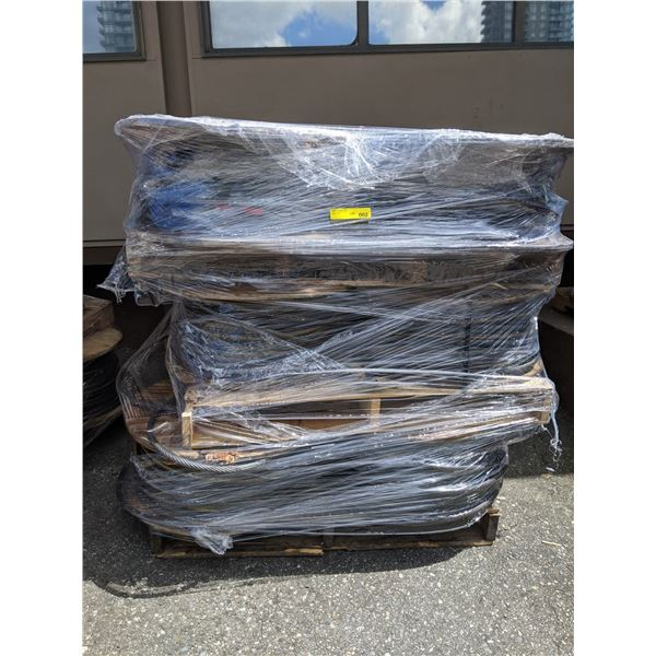 Pallet of 12 large spools of 1/2 in. braided steel cable line popular sci-fi tv series
