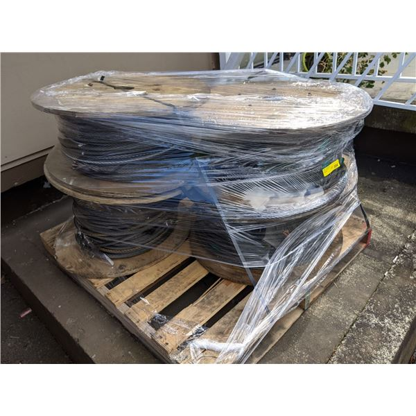 Pallet of 4 large rolls 1/2 in. braided steel cable line from popular sci-fi tv series