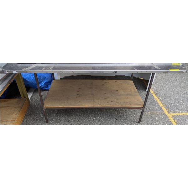 Steel framed table w/ approx. 6 1/2 ft by 5ft stainless steel top from the popular sci-fi tv series