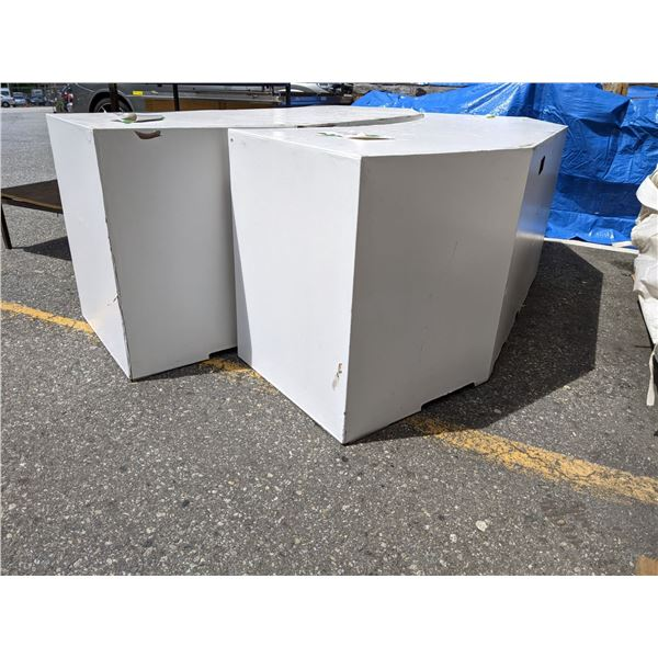2 White set dec desks from the popular sci-fi tv series