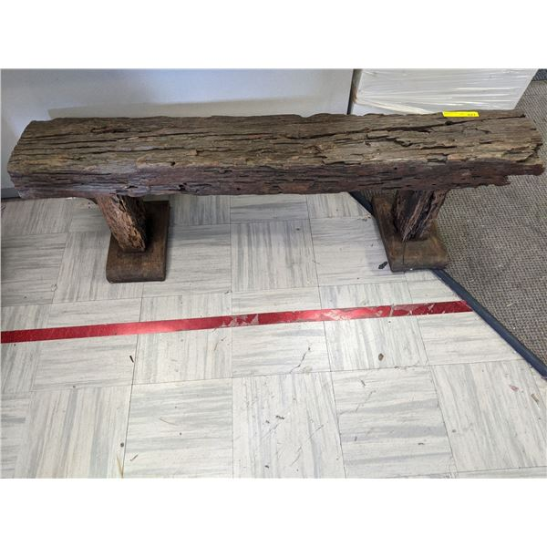 Primitive rustic wooden bench 1 1/2 ft tall by 5 ft long from the popular sci-fi tv series