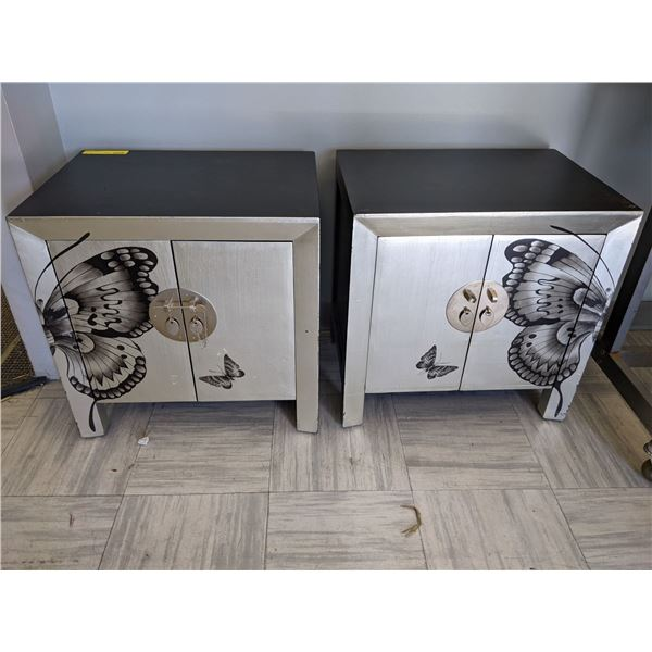 Pair black and silver butterfly side cabinets from the popular sci-fi tv series