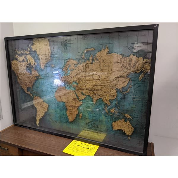 Large map artwork behind glass wall hanging from the popular sci-fi tv series