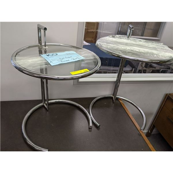 Pair of chrome & glass adjustable side tables from the popular sci-fi tv series