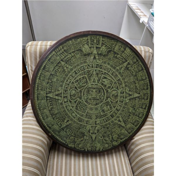 24 in. diameter round w/ heavy plexiglass covered Mayan calendar wall hanging from the popular sci-f