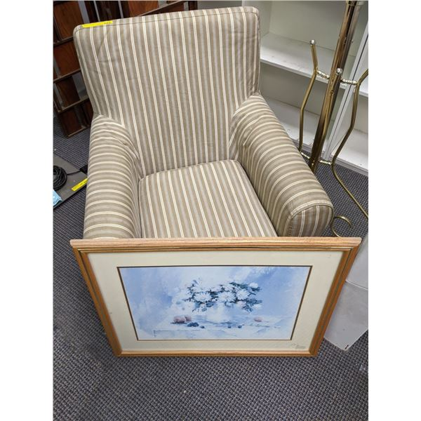 Pin striped upholstered accent chair/ framed floral print & brass coat tree from the popular sci-fi