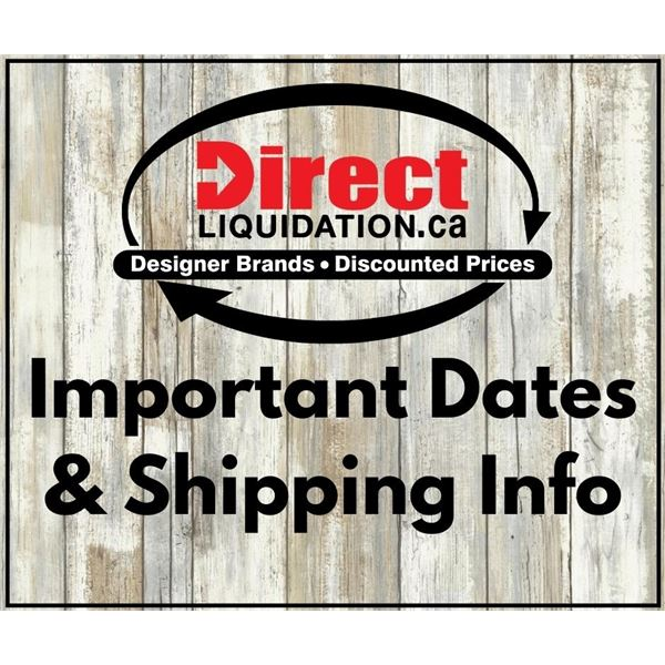 Please read - Important dates & shipping information before you bid!